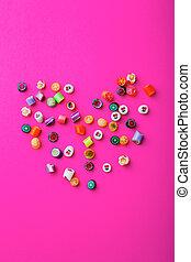 Multicolored, doce, canas, ligado, Um, Cor-de-rosa, fundo,