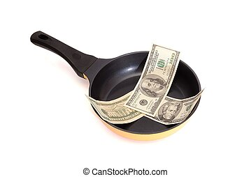Black frying pan with dollar bills isolated