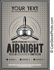Party Leaflet, airplane brochure, cover, club night page...