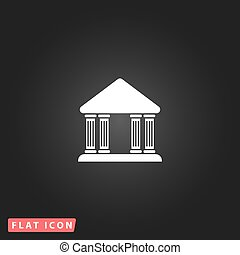 court building vector icon - Court building White flat...