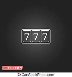 Simple icon 777. - Fortune 777. White flat simple vector...