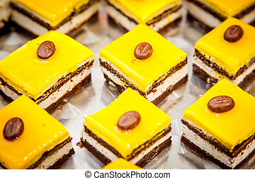 fancy cake with yellow fruit jelly - food series: mango...
