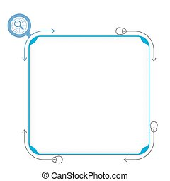 Vector blue box to fill your text and magnifier