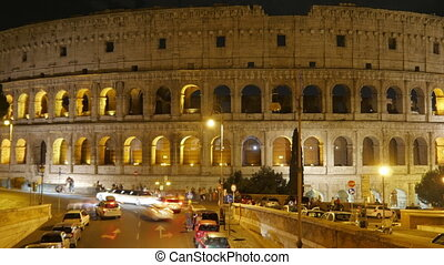 quot;Colosseum at night, rome, italy, timelapse, zoom out,...