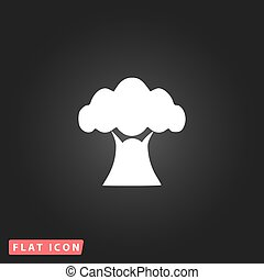 Baobab tree icon - Baobab tree White flat simple vector icon...