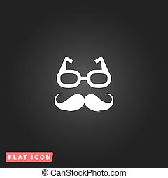Nerd glasses and mustaches White flat simple vector icon on...