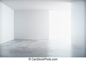 Empty white room with a concrete floor and blank wall with copyspace