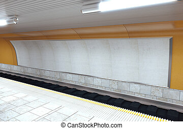 Interior subway station with blank billboard, mock up