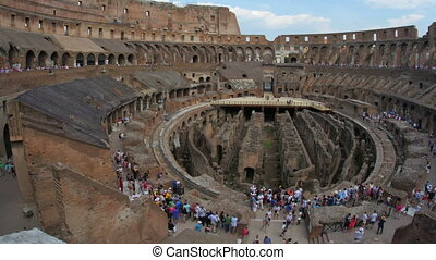 """inside of Colosseum, rome, italy, timelapse, zoom out, 4k"""