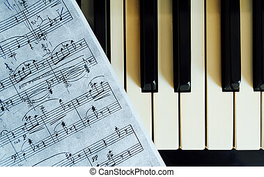 piano keys and musical notes closeup