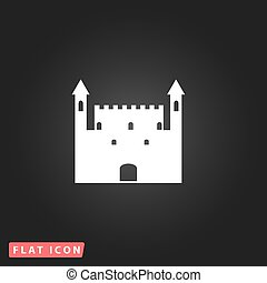 Castle flat icon - Castle White flat simple vector icon on...