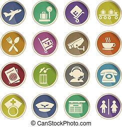 Airport icons - Label icons for web sites and user interfase