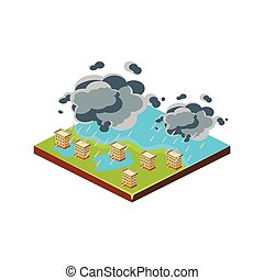 Flood in City. Natural Disaster Icon. Vector Illustration -...