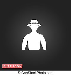 man with broad-brim - Man with broad-brim. White flat simple...