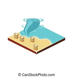 Tornado on Water. Natural Disaster Icon. Vector Illustration