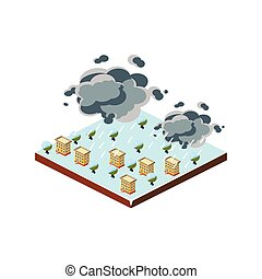 Snowstorm Natural Disaster Icon Vector Illustration -...