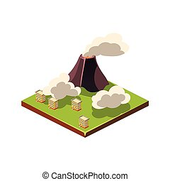 Volcano Eruption and Ash Natural Disaster Icon Vector...
