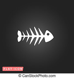 Fish skeleton flat icon - Fish skeleton White flat simple...