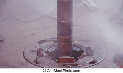 Drill pipe rotating in the rotary table