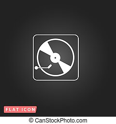 Vinyl record player. White flat simple vector icon on black...