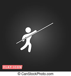 Pole vault athlete White flat simple vector icon on black...