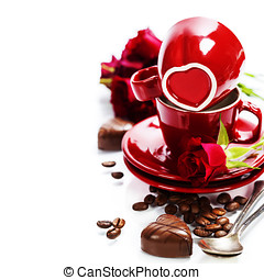 Valentine card Chocolate and coffee for Valentines Day