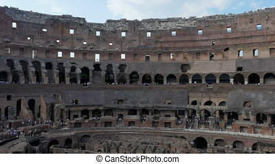 """inside of Colosseum, rome, italy, timelapse, zoom in, 4k"""