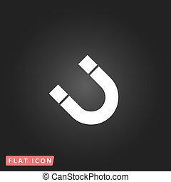 Magnet flat icon - Magnet White flat simple vector icon on...