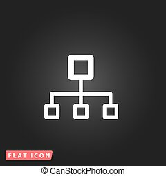 Network block diagram. White flat simple vector icon on...