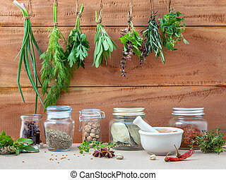 Assorted hanging herbs ,parsley ,oregano,sage,rosemary,sweet basil,dill,spring onion  and  set up with dry and fresh thyme,chili,bay leaves,white mortar  and star anise  for seasoning concept on rustic old wooden background.