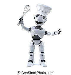 3d Robot chef with whisk and chefs hat - 3d render of a...