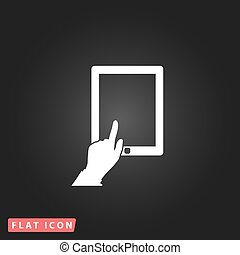 Touch screen tablet White flat simple vector icon on black...