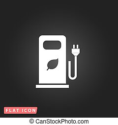 Electric car charging station or Bio fuel petrol. White flat...
