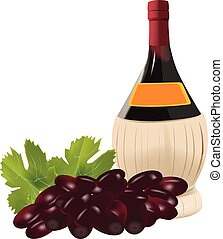 alcoholic drink wine - bottle of straw wine with grapes