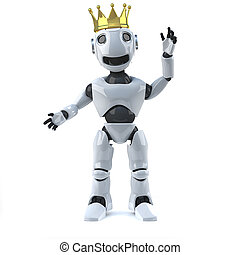 3d Robot wearing a gold crown - 3d render of a robot wearing...