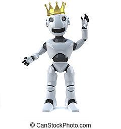 3d Robot wearing a gold crown - 3d render of a robot wearing...