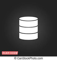 Database flat icon - Database. White flat simple vector icon...