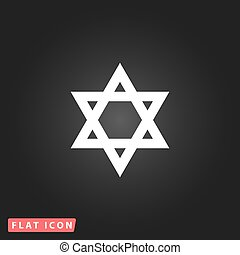 Star of David. White flat simple vector icon on black...