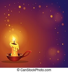 card with burning candle