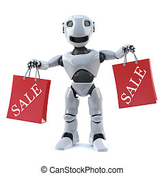 3d Robot has been to the sales - 3d render of a robot...