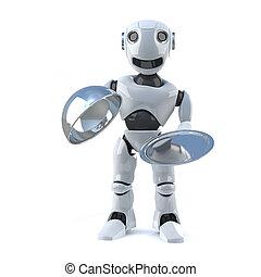 3d Robot offers silver service platter - 3d render of a...