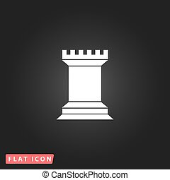 Chess Rook icon - Chess Rook. White flat simple vector icon...