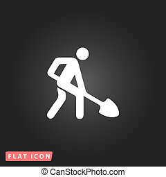 building site flat icon - Building site. White flat simple...