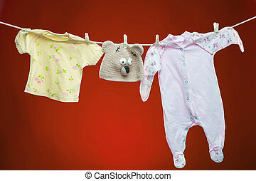 Baby goods hanging on the clothesline