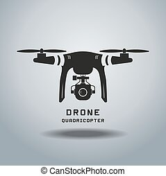 drone with action camera, logo vector