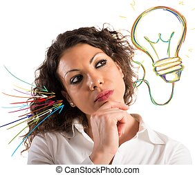 Brainstorm - Businesswoman with thoughtful expression and a...