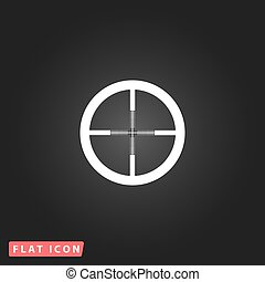 icon of crosshair - Crosshair White flat simple vector icon...
