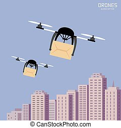 Air drones carrying cardboard, cityscape backgrpund