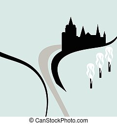 old town - illustration of old town on the rock and road