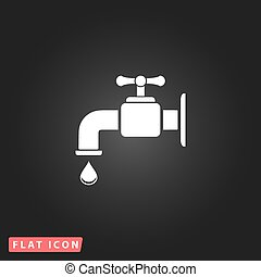 faucet flat icon - Faucet White flat simple vector icon on...